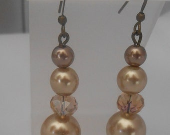 champagne pearl and crystal earrings