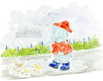 Original signed watercolor watercolour painting nursery fantasy art ducks elephant rainy day illustration illustration