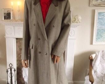 Full length wool coat Velvet collar coat  Alexon wool coat Herringbone wool coat size 12 coat 80s wool coat Winter coat  excellent condition
