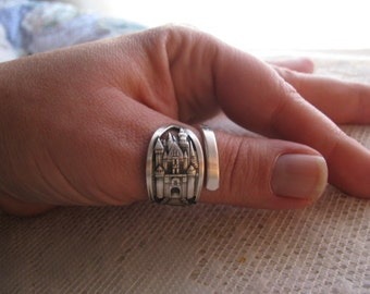 Disney Spoon Ring,  Sterling ring, Sterling Spoon Ring, Disneyworld, Full Sized, Disney Ring, Recycle, Vintage Disneyland, 1954 ,Castle Ring