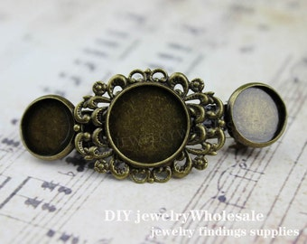 5pcs Antique Bronze Hair Clips Barrette with 20mm Setting, Barrette Setting