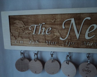 Customized and engraved family celebration Board with multi layers of engraving on 20 x 3.5 wood with forest background (f_forest_4b).