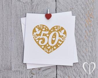 Golden Anniversary Card, Gold Anniversary Card, 50th Anniversary Card, Fiftieth Anniversary Card, Fifty Anniversary Card, 50 years, 50 Card