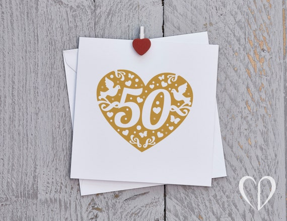 Gold Heart 50 Handmade Card for Birthday or Anniversary