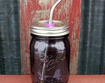 1 Mason Jar Tumbler Purple 2015 Heritage Edition Pint & Stainless Steel Straw with Silver Lid Rim | ToGo Pint Mason Drinking Glass | Purple