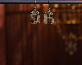 Earrings Bronze Bird Cage