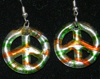 Murano style Glass Peace Sign  Earrings V4