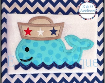 Whale Sailor Applique Design - Embroidery Applique - Whale Applique - Sailor Applique - Patriotic Applique