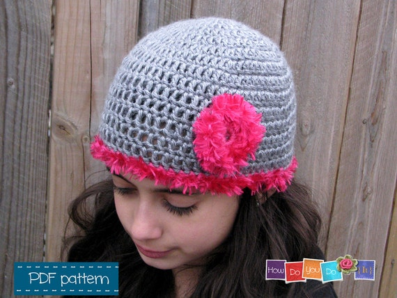 Crochet Hat for Girl Pattern Photo Tutorial Beanie for Girl