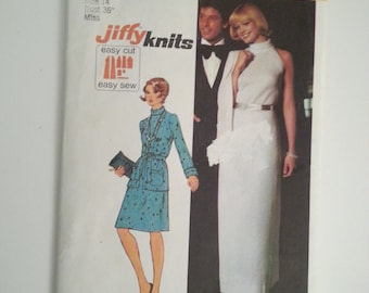 70s evening dress / 70s cardigan /70s dress pattern simplicity patterns/sleeveless dress/vintage patterns, Bust 36, Size 14, Simplicity 5957