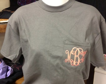 Embroidered Monogrammed Three Initial Comfort Color Pocket Tshirt