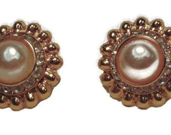 Vintage Large Pearl & Rhinestone Gold Tone Pierced Earrings