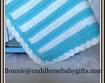 Baby Shower Turquoise and White Crochet Baby Blanket Baby Shower Gift Baby Blanket Baby Keepsake