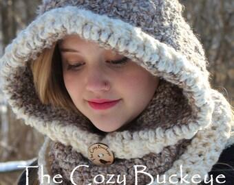 Chunky Hooded Cowl, Chunky Scarf, Hood & Cowl Scarf, Knit Hood, Hoodie,