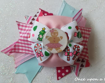Hand made pink gingerbread girl christmas hair bow