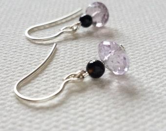 Amethyst Agate Silver Earrings Dangle Drop Earrings Silver Gemstones Earrings
