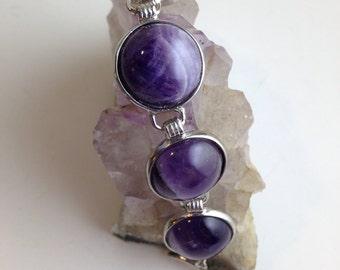 """Bezel Set Amethyst and Silver Bracelet 8"""" Women's"""