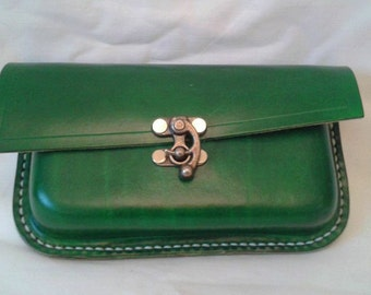 Kelly Green clutch bag with wrist strap