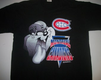 "Montreal Canadiens with ""taz"" mascot t shirt 1994"