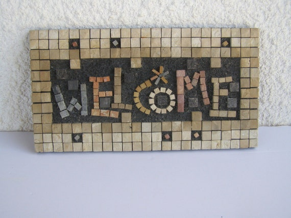 Eilon Israel  city images : WELCOME Israel EILON MOSAICS Natural Stone Hand made Wall hanging Sign