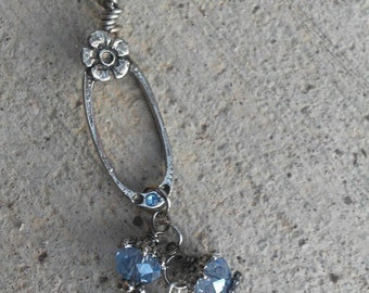 Salvaged Necklace, Repurposed Barrett Necklace, Vintage Barrett, Silver Necklace, Long Necklace, Silver Jewelry, Unique, Boho, Gyosy, Hippie