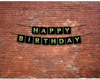 Kids Party Happy Birthday Banner - Video Game, Mining Theme 8-bit Green and Black Party Decor