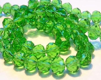 70 Light Green Crystal Beads 8 x 6 mm BD70