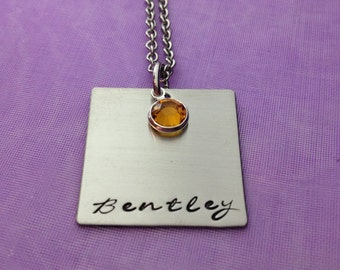 Personalized Hand Stamped Square Necklace -Hand Stamped Stainless Steel - Mommy Necklace - Birthstones -Gift for Mom
