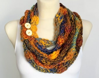Unique Knit Scarf - Knit Scarf Necklace - Designer Knit Scarf - Modern Chunky Scarf - Knit Necklace Scarf - Knit Rope Scarf - Winter Gifts