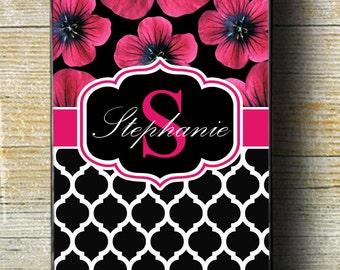 Floral Phone 6 Case, Hot pink case, flower iphone case, iphone 5 case, iphone 6 plus case, iphone 6 case, iphone monogram, custom iphone