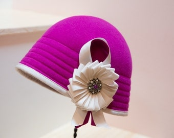 Cloche Hat- Wool church hat- Pink Cloche with Ivory trim-Hoilday -Christmas Party -Ribbon-Hat-Cloche-Ribbon Rosette Trim-Custom Cloche Hat