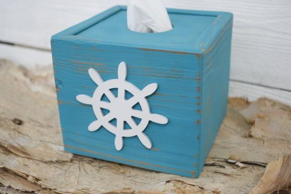 Tissue kleenex cube box cover beach nautical bathroom decor - Beach themed tissue box cover ...