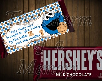 SALE !!!! Cookie Monster Hershey Candy Bar Wrappers - Instant Download
