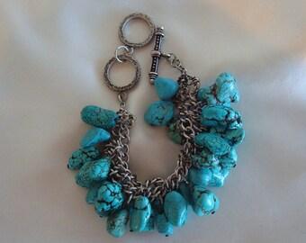 Vintage Turquoise Nugget Silvertone Chain Charm Bracelet Cha Cha Bracelet