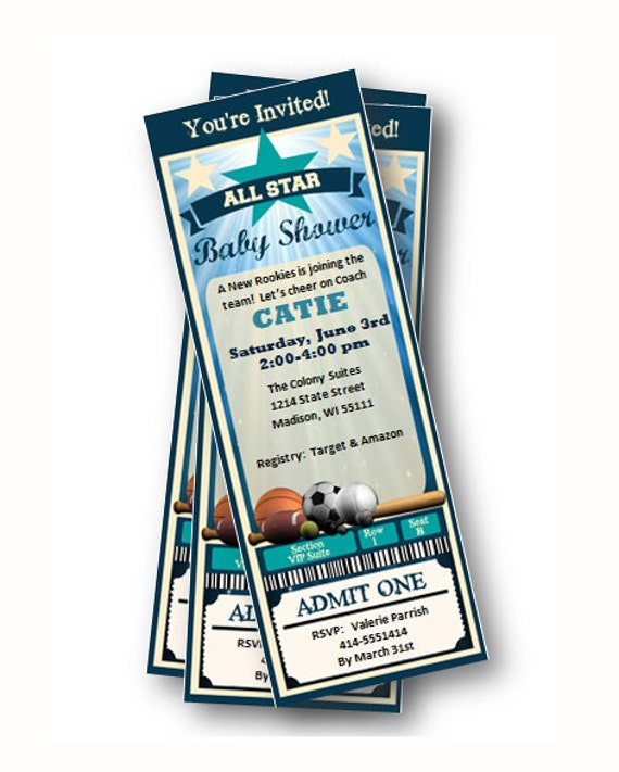 sports baby shower invitation ticket pass all star baby,