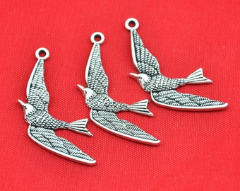 25pcs of  Antique Silver  Swallow Bird Charm Pendant Sparrow Charms  ---25x33mm-----G1671