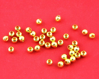 Gold plated Round Ornate Beads Jewelry Findings,4mm Round Spacer Bead ---G1709