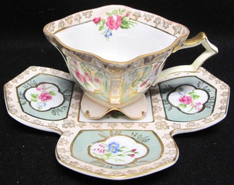 Antique Camille Naudot Hand Painted Porcelain Cup and Saucer circa 1890's