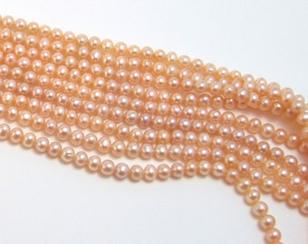 Natural Peach Pearls, 6mm Freshwater Cultured Pearl Beads, nicely shaped potato, fairly round, 16 inch strand, #2126
