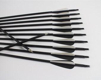 "12 Carbon Target Practice Arrows 28""~32"" For Compound Bows"