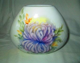 Vintage Hand painted Vase Porcelain chrysanthemum Lavender Signed Lila Farlow