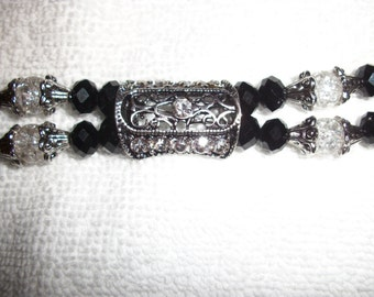 Antique silver and black beaded bracelet