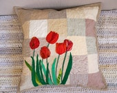 Decorative Beige Pillow, Throw Pillow Cover, Art Quilted Red Tulips, Unique Patchwork Pillow, Handmade Pillow Case, Romantic Pillow