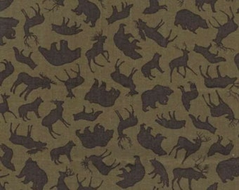 Olive Forest Animals Fabric-North by Northwest-Benartex-Woodland Animal Quilt Fabric-Wilderness Animal Fabric-Rustic Fabric-Cabin Fabric