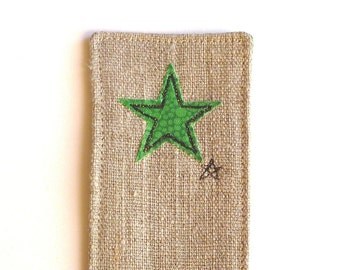 Linen bookmark with embroidered green star. With vibrant bubbly green patterned cotton back. Small gift for him or her.