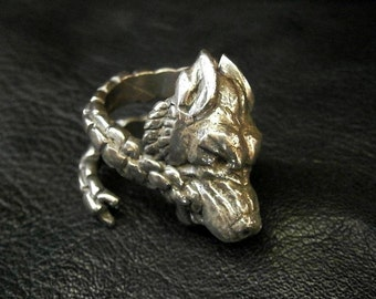 Fenris Wolf Head Ring, Adjustable Norse Legend
