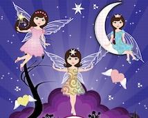 Moon Fairies Clipart, Fairy Clipart, Fairy Clip Art, Moon Clipart, Fantasy Clipart, Twilight Fairies Clipart