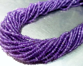 """5 strand of AAA quality Amethyst micro faceted rondelle beads13.5""""inches 2.5mm-3mm or 3mm-4mm"""