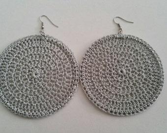 Crochet Hoop Earrings, Statement Jewelry, Silver Dangle Earrings, Womens Accessories, Natural Hair Accessories, Natural Hair Earrings