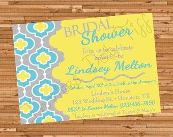 Aqua & Yellow Bridal Shower Invite (Printable)